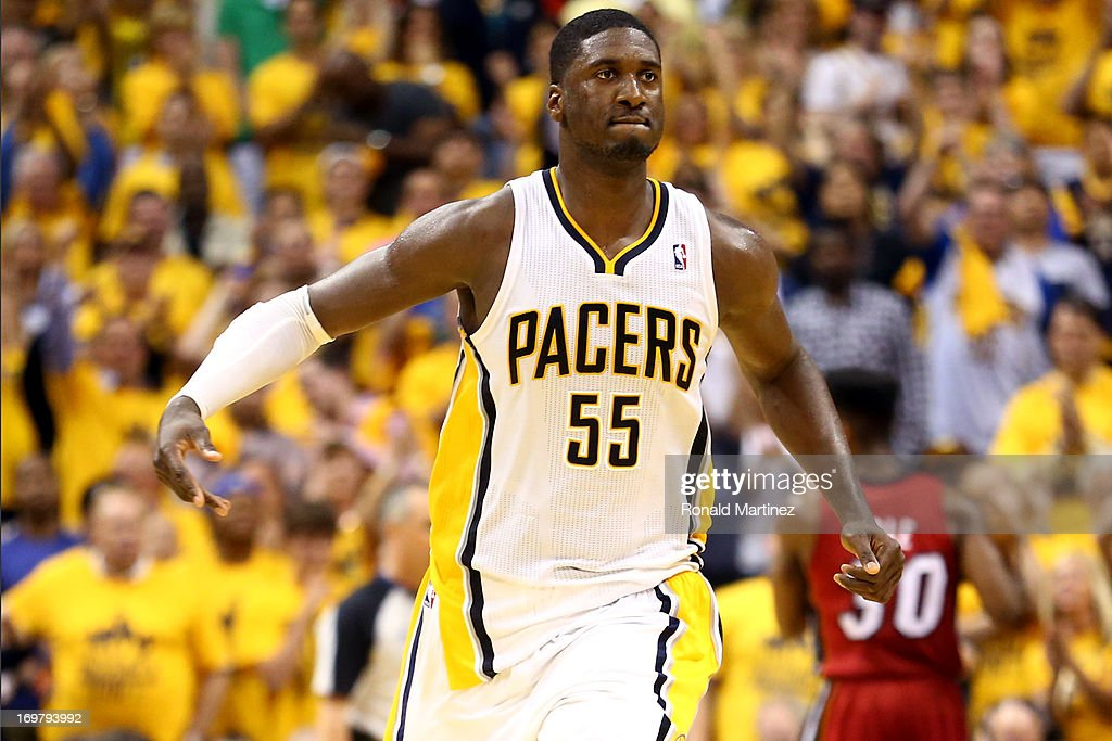 <a gi-track='captionPersonalityLinkClicked' href=/galleries/search?phrase=Roy+Hibbert&family=editorial&specificpeople=725128 ng-click='$event.stopPropagation()'>Roy Hibbert</a> #55 of the Indiana Pacers celebrates after scoring against the Miami Heat in Game Six of the Eastern Conference Finals during the 2013 NBA Playoffs at Bankers Life Fieldhouse on June 1, 2013 in Indianapolis, Indiana.