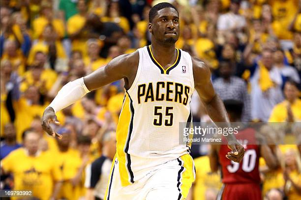Roy Hibbert of the Indiana Pacers celebrates after scoring against the Miami Heat in Game Six of the Eastern Conference Finals during the 2013 NBA...