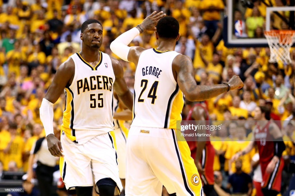 <a gi-track='captionPersonalityLinkClicked' href=/galleries/search?phrase=Roy+Hibbert&family=editorial&specificpeople=725128 ng-click='$event.stopPropagation()'>Roy Hibbert</a> #55 of the Indiana Pacers celebrates with teammate Paul George #24 after scoring against the Miami Heat in Game Six of the Eastern Conference Finals during the 2013 NBA Playoffs at Bankers Life Fieldhouse on June 1, 2013 in Indianapolis, Indiana.