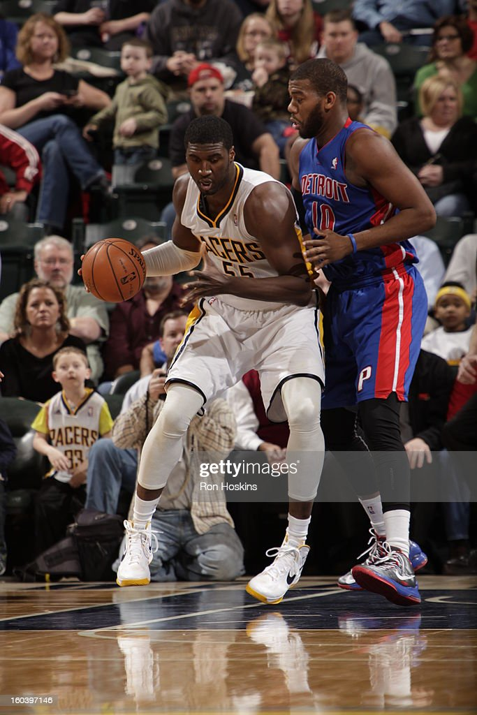 Roy Hibbert #55 of the Indiana Pacers controls the ball against Greg Monroe #10 of the Detroit Pistons on January 30, 2013 at Bankers Life Fieldhouse in Indianapolis, Indiana.