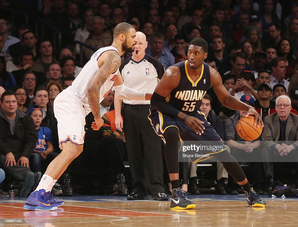 Roy Hibbert #55 of the Indiana Pacers dribbles the ball against the New York Knicks at Madison Square Garden on November 18, 2012 in New York City.