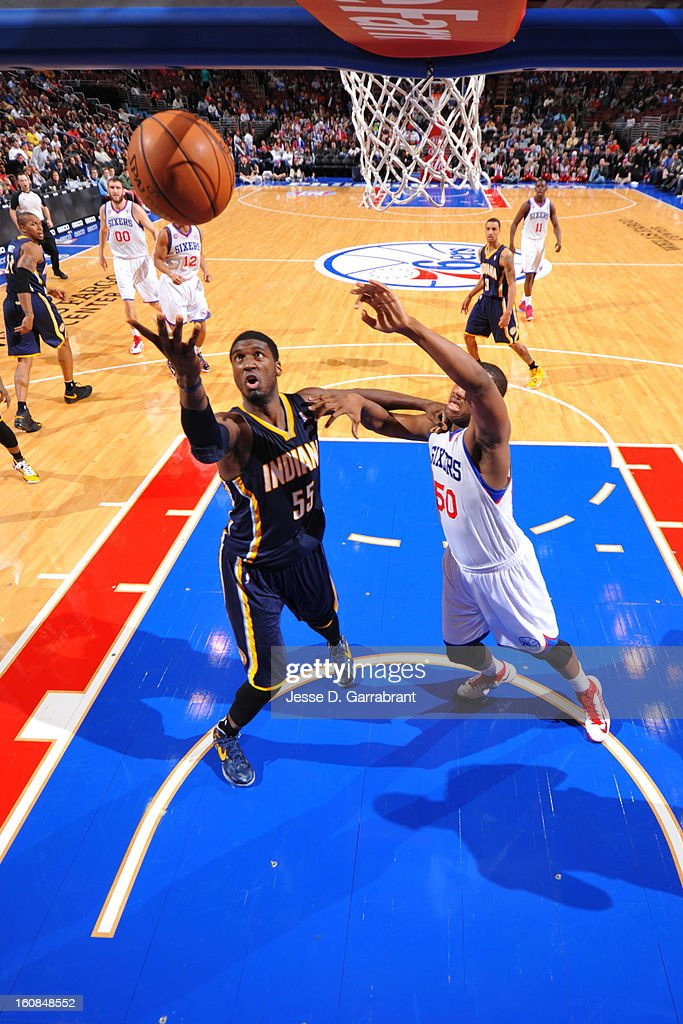 Roy Hibbert #55 of the Indiana Pacers drives to the basket against Lavoy Allen #50 of the Philadelphia 76ers during the game at the Wells Fargo Center on February 6, 2013 in Philadelphia, Pennsylvania.