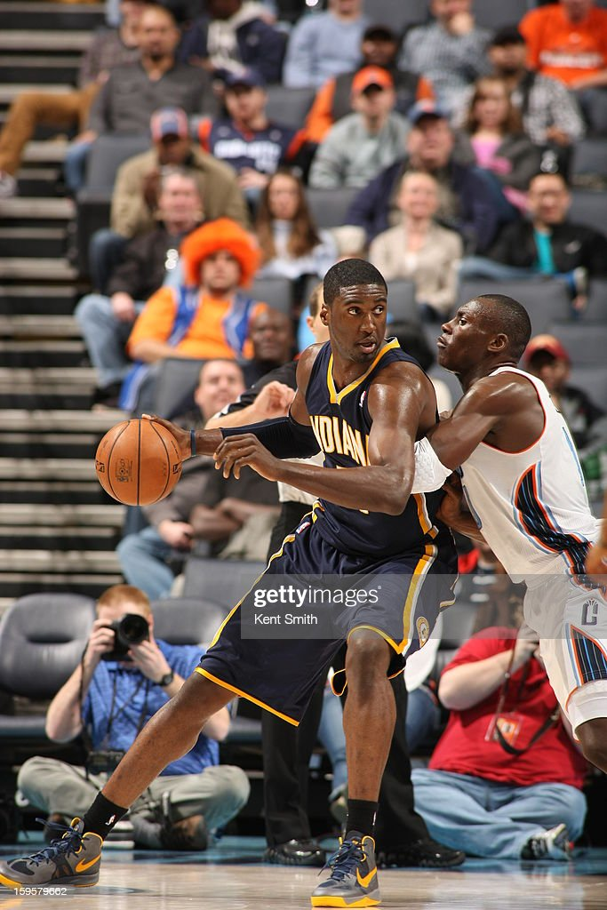 Roy Hibbert #55 of the Indiana Pacers drives to the basket against the Charlotte Bobcats at the Time Warner Cable Arena on January 15, 2013 in Charlotte, North Carolina.