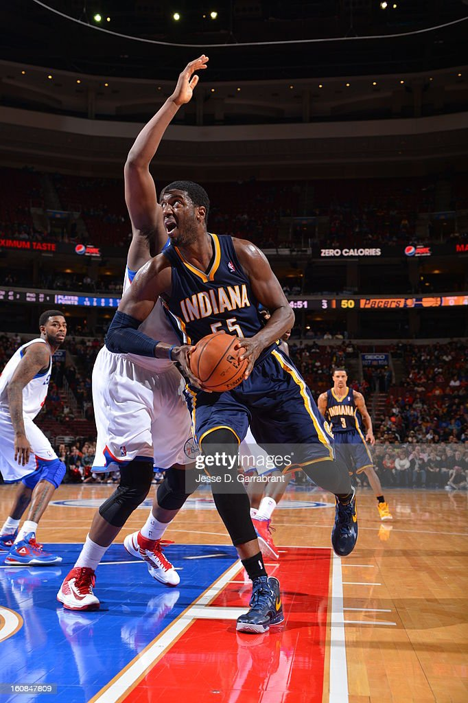 Roy Hibbert #55 of the Indiana Pacers drives to the basket against the Philadelphia 76ers during the game at the Wells Fargo Center on February 6, 2013 in Philadelphia, Pennsylvania.