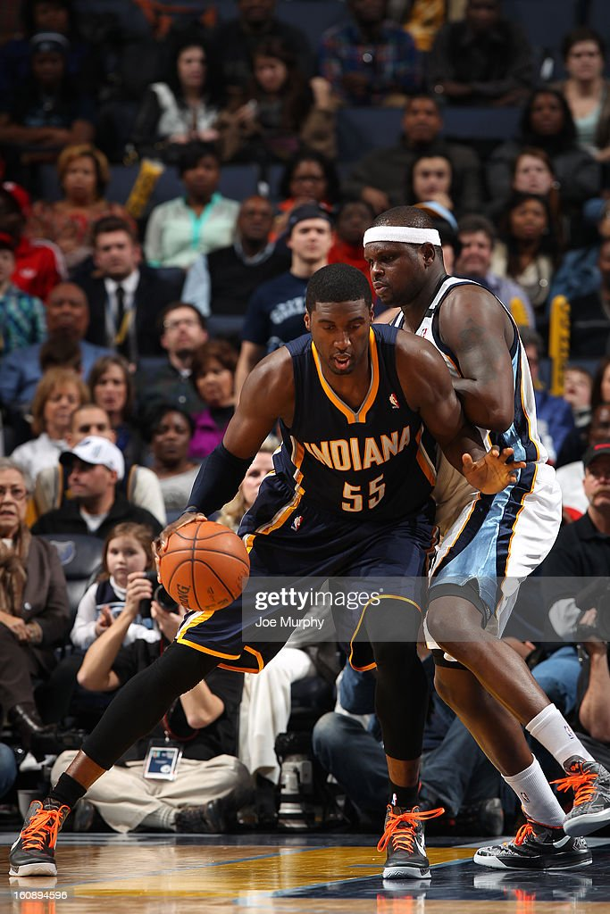 <a gi-track='captionPersonalityLinkClicked' href=/galleries/search?phrase=Roy+Hibbert&family=editorial&specificpeople=725128 ng-click='$event.stopPropagation()'>Roy Hibbert</a> #55 of the Indiana Pacers drives to the basket against the Memphis Grizzlies on January 21, 2013 at FedExForum in Memphis, Tennessee.