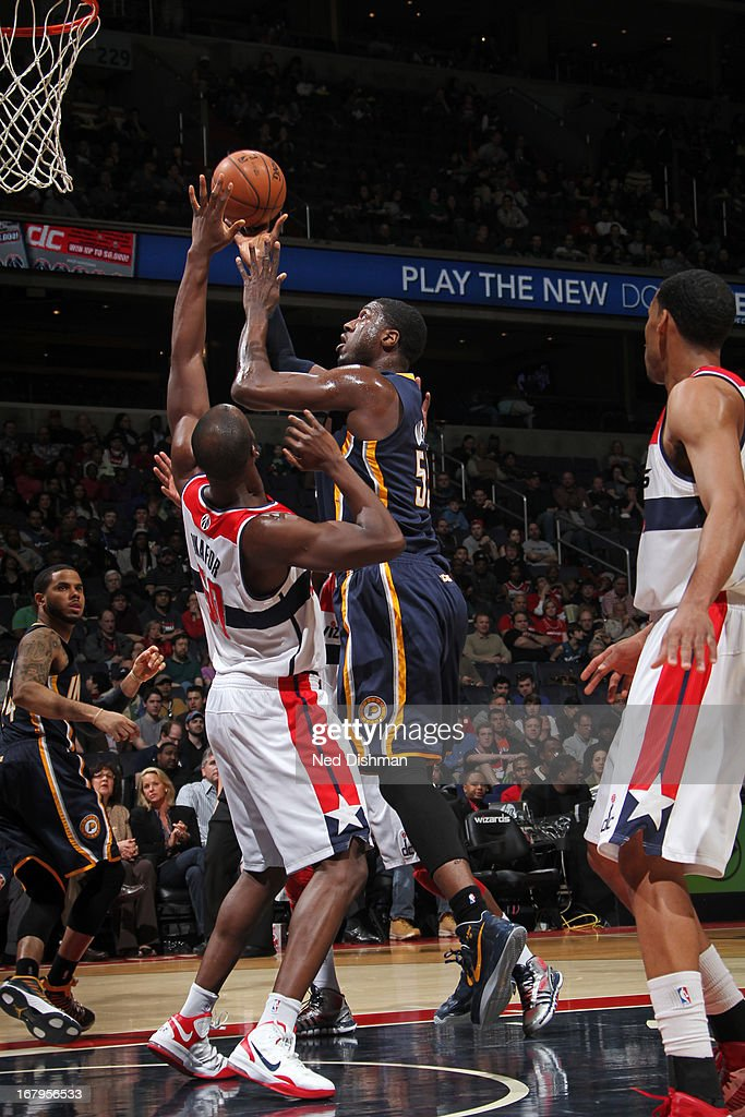 <a gi-track='captionPersonalityLinkClicked' href=/galleries/search?phrase=Roy+Hibbert&family=editorial&specificpeople=725128 ng-click='$event.stopPropagation()'>Roy Hibbert</a> #55 of the Indiana Pacers drives to the basket against the Washington Wizards at the Verizon Center on April 6, 2013 in Washington, DC.