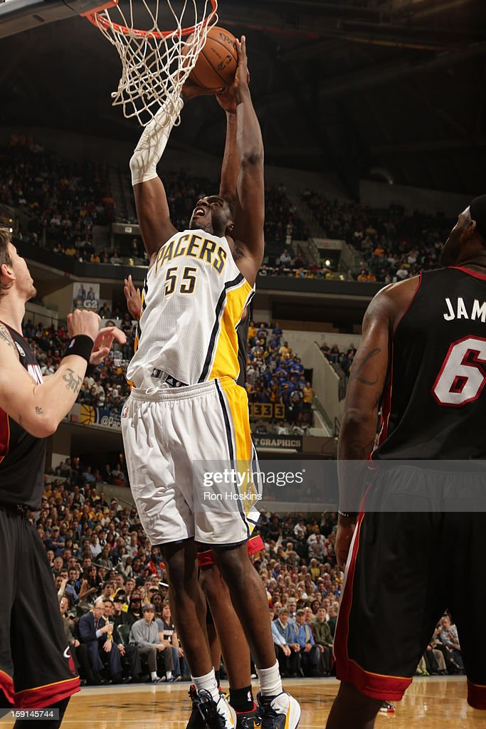 <a gi-track='captionPersonalityLinkClicked' href=/galleries/search?phrase=Roy+Hibbert&family=editorial&specificpeople=725128 ng-click='$event.stopPropagation()'>Roy Hibbert</a> #55 of the Indiana Pacers dunks against the Miami Heat on January 8, 2013 at Bankers Life Fieldhouse in Indianapolis, Indiana.