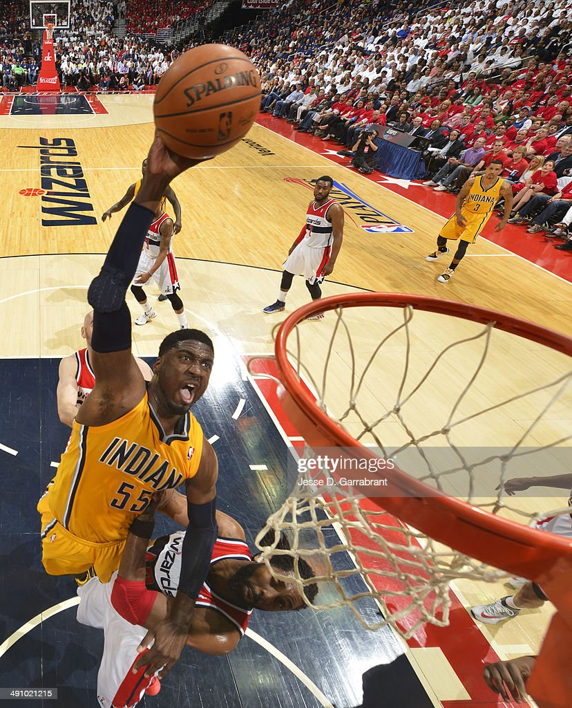<a gi-track='captionPersonalityLinkClicked' href=/galleries/search?phrase=Roy+Hibbert&family=editorial&specificpeople=725128 ng-click='$event.stopPropagation()'>Roy Hibbert</a> #55 of the Indiana Pacers dunks against the Washington Wizards in Game Six of the Eastern Conference Semifinals during the 2014 NBA Playoffs on May 15, 2014 at the Verizon Center in Washington, DC.