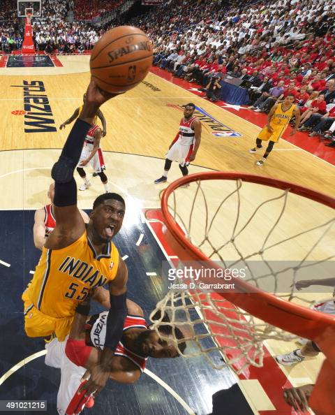 Roy Hibbert of the Indiana Pacers dunks against the Washington Wizards in Game Six of the Eastern Conference Semifinals during the 2014 NBA Playoffs...