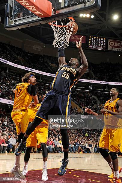 Roy Hibbert of the Indiana Pacers dunks the ball against the Cleveland Cavaliers at The Quicken Loans Arena on January 5 2014 in Cleveland Ohio NOTE...