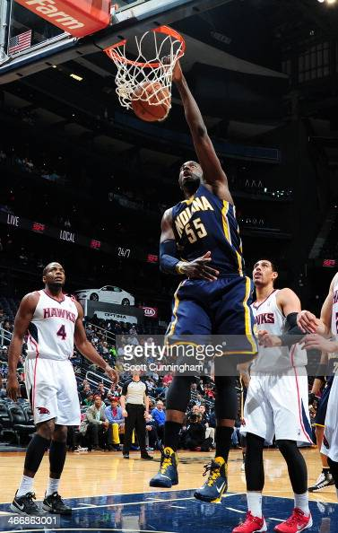 Roy Hibbert of the Indiana Pacers dunks the ball against the Atlanta Hawks on February 4 2014 at Philips Arena in Atlanta Georgia NOTE TO USER User...