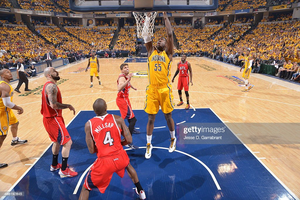Roy Hibbert #55 of the Indiana Pacers dunks the ball against the Atlanta Hawks during Game Seven of the Eastern Conference Quarterfinals during the 2014 NBA Playoffs on May 3, 2014 at Bankers Life Fieldhouse in Indianapolis, Indiana.