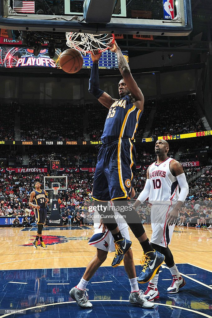 Roy Hibbert #55 of the Indiana Pacers dunks the ball during the Game Three of the Eastern Conference Quarterfinals between the Indiana Pacers and the Atlanta Hawks in the 2013 NBA Playoffs on April 27, 2013 at Philips Arena in Atlanta, Georgia.
