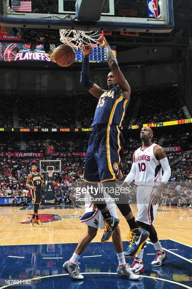 Roy Hibbert of the Indiana Pacers dunks the ball during the Game Three of the Eastern Conference Quarterfinals between the Indiana Pacers and the...