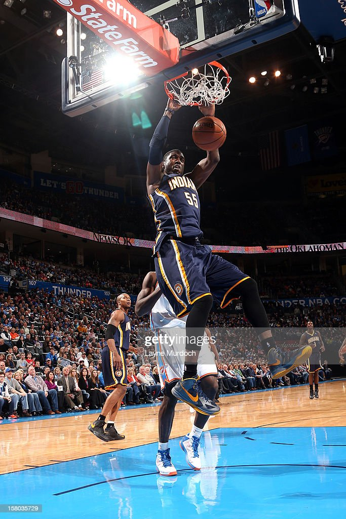 Roy Hibbert #55 of the Indiana Pacers dunks the ball during the game between the Oklahoma City Thunder and the Indiana Pacers on December 9, 2012 at the Chesapeake Energy Arena in Oklahoma City, Oklahoma.