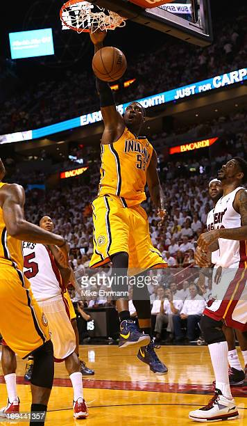 Roy Hibbert of the Indiana Pacers dunks the ball in the third quarter against the Miami Heat during Game Two of the Eastern Conference Finals at...