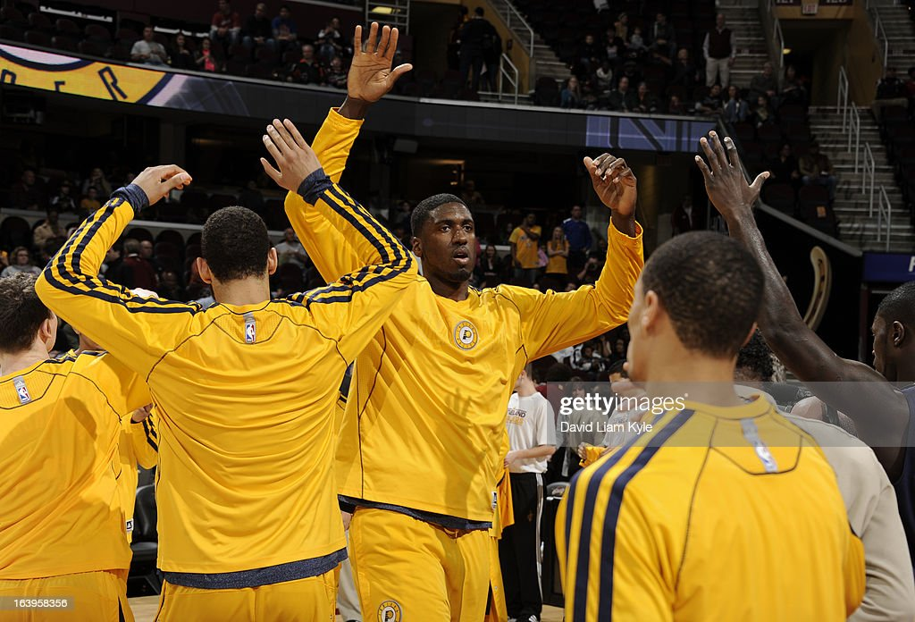 Roy Hibbert #55 of the Indiana Pacers enters the court during introductions prior to the game against the Cleveland Cavaliers at The Quicken Loans Arena on March 18, 2013 in Cleveland, Ohio.