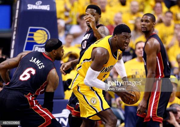 Roy Hibbert of the Indiana Pacers gains control of the ball as LeBron James of the Miami Heat defends during Game Two of the Eastern Conference...