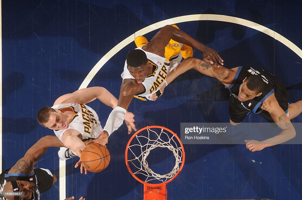 <a gi-track='captionPersonalityLinkClicked' href=/galleries/search?phrase=Roy+Hibbert&family=editorial&specificpeople=725128 ng-click='$event.stopPropagation()'>Roy Hibbert</a> #55 of the Indiana Pacers gains the ball control during the game between the Indiana Pacers and the Minnesota Timberwolves on March 13, 2013 at Bankers Life Fieldhouse in Indianapolis, Indiana.