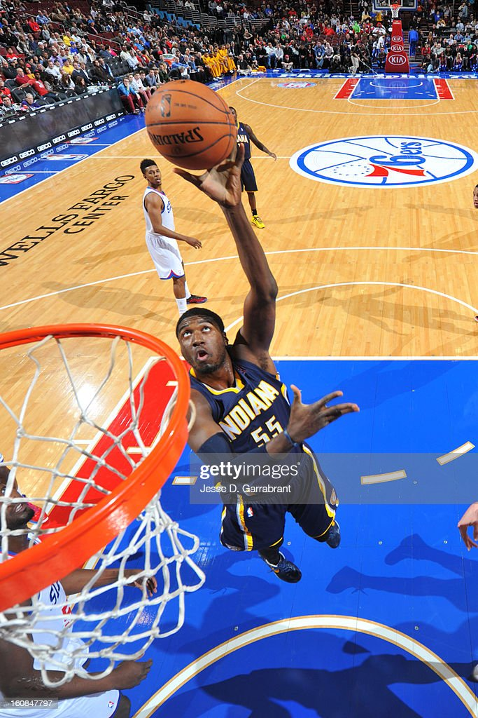 Roy Hibbert #55 of the Indiana Pacers goes to the basket against the Philadelphia 76ers during the game at the Wells Fargo Center on February 6, 2013 in Philadelphia, Pennsylvania.