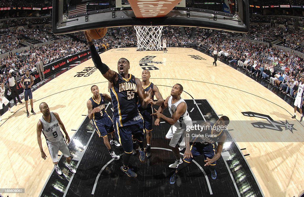 <a gi-track='captionPersonalityLinkClicked' href=/galleries/search?phrase=Roy+Hibbert&family=editorial&specificpeople=725128 ng-click='$event.stopPropagation()'>Roy Hibbert</a> #55 of the Indiana Pacers goes to the basket during the game between the Indiana Pacers and the San Antonio Spurs on November 5, 2012 at the AT&T Center in San Antonio, Texas.