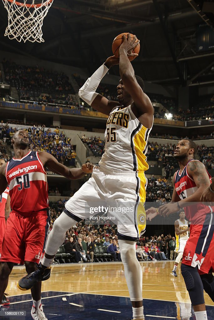 Roy Hibbert #55 of the Indiana Pacers goes to the basket during the game between the Indiana Pacers and the Washington Wizards on November 10, 2012 at Bankers Life Fieldhouse in Indianapolis, Indiana.