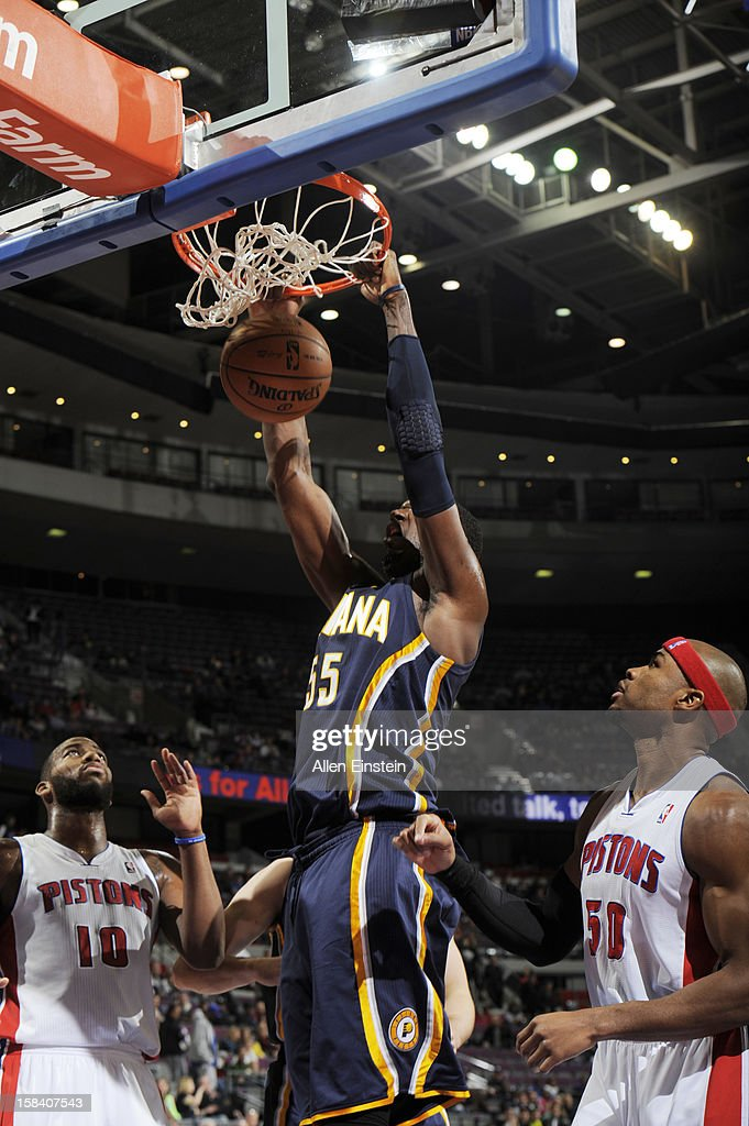 Roy Hibbert #55 of the Indiana Pacers goes up for the dunk against the Detroit Pistons during the game on December 15, 2012 at The Palace of Auburn Hills in Auburn Hills, Michigan.