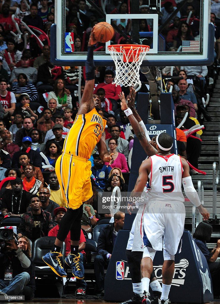 Roy Hibbert #55 of the Indiana Pacers goes up for the dunk against the Atlanta Hawks during Game Six of the Eastern Conference Quarterfinals in the 2013 NBA Playoffs on May 3, 2013 at Philips Arena in Atlanta, Georgia.