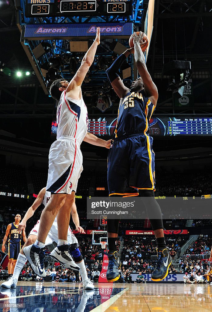 Roy Hibbert #55 of the Indiana Pacers goes up for the shot vs the Atlanta Hawks at Philips Arena on November 7, 2012 in Atlanta, Georgia.