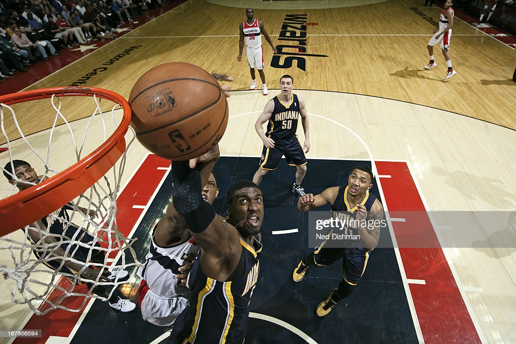<a gi-track='captionPersonalityLinkClicked' href=/galleries/search?phrase=Roy+Hibbert&family=editorial&specificpeople=725128 ng-click='$event.stopPropagation()'>Roy Hibbert</a> #55 of the Indiana Pacers grabs a rebound against the Washington Wizards at the Verizon Center on April 6, 2013 in Washington, DC.