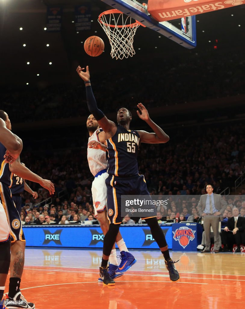 Roy Hibbert #55 of the Indiana Pacers grabs a rebound against the New York Knicks at Madison Square Garden on November 18, 2012 in New York City.