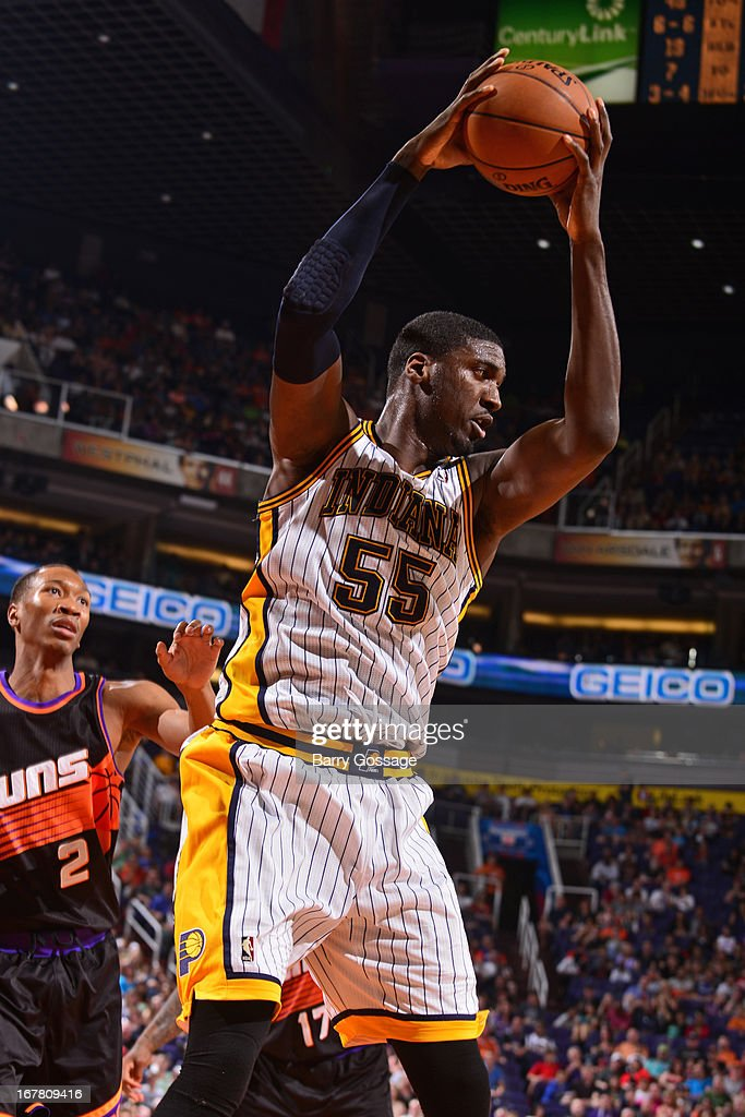 <a gi-track='captionPersonalityLinkClicked' href=/galleries/search?phrase=Roy+Hibbert&family=editorial&specificpeople=725128 ng-click='$event.stopPropagation()'>Roy Hibbert</a> #55 of the Indiana Pacers grabs a rebound against the Phoenix Suns on March 30, 2013 at U.S. Airways Center in Phoenix, Arizona.