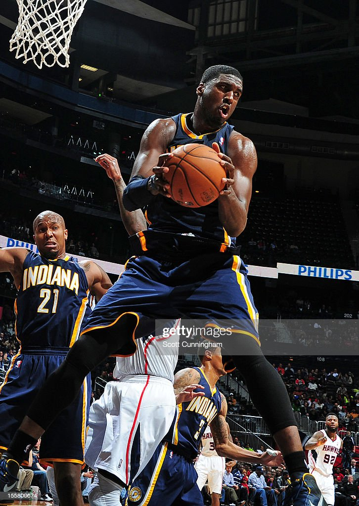 Roy Hibbert #55 of the Indiana Pacers grabs the rebound against the Atlanta Hawks at Philips Arena on November 7, 2012 in Atlanta, Georgia.