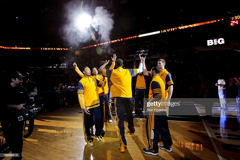 <a gi-track='captionPersonalityLinkClicked' href=/galleries/search?phrase=Roy+Hibbert&family=editorial&specificpeople=725128 ng-click='$event.stopPropagation()'>Roy Hibbert</a> #55 of the Indiana Pacers greets teammates before playing against the Chicago Bulls on March 3, 2013 at Bankers Life Fieldhouse in Indianapolis, Indiana.