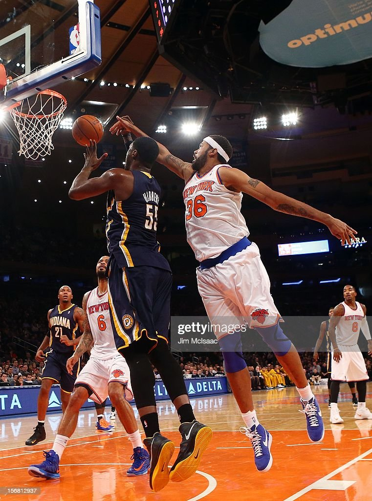Roy Hibbert #55 of the Indiana Pacers in action against Rasheed Wallace #36 of the New York Knicks at Madison Square Garden on November 18, 2012 in New York City. The Knicks defeated the Pacers 88-76.