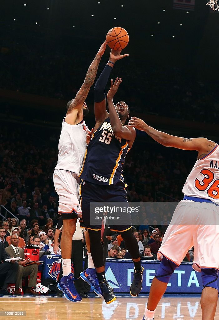 Roy Hibbert #55 of the Indiana Pacers in action against Tyson Chandler #6 of the New York Knicks at Madison Square Garden on November 18, 2012 in New York City. The Knicks defeated the Pacers 88-76.