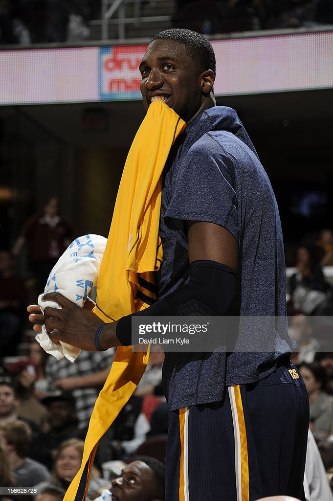Roy Hibbert #55 of the Indiana Pacers kids around during a break in the action against the Cleveland Cavaliers at The Quicken Loans Arena on December 21, 2012 in Cleveland, Ohio.