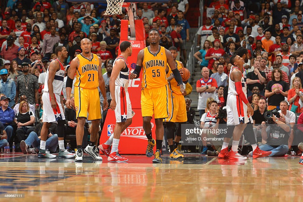 <a gi-track='captionPersonalityLinkClicked' href=/galleries/search?phrase=Roy+Hibbert&family=editorial&specificpeople=725128 ng-click='$event.stopPropagation()'>Roy Hibbert</a> #55 of the Indiana Pacers looks on against the Washington Wizards during Game Four of the Western Conference Semifinals on May 11, 2014 at the Verizon Center, in Washington DC.