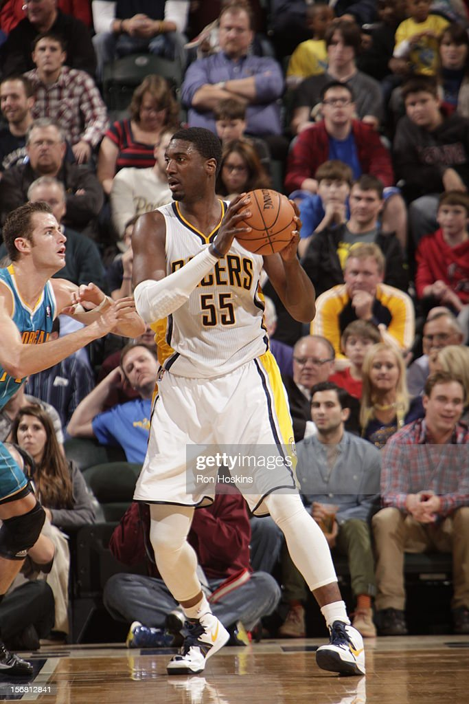 <a gi-track='captionPersonalityLinkClicked' href=/galleries/search?phrase=Roy+Hibbert&family=editorial&specificpeople=725128 ng-click='$event.stopPropagation()'>Roy Hibbert</a> #55 of the Indiana Pacers looks to drive to the hoop v the New Orleans Hornets on November 21, 2012 at Bankers Life Fieldhouse in Indianapolis, Indiana.