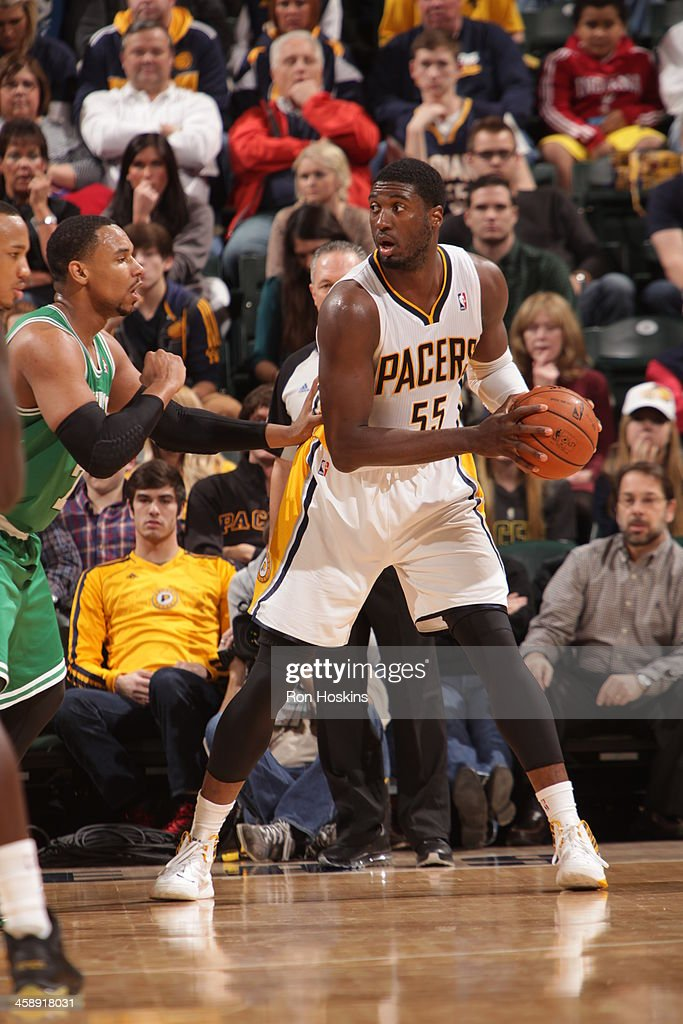 Roy Hibbert #55 of the Indiana Pacers looks to make a move against the Boston Celtics at Bankers Life Fieldhouse on December 22, 2013 in Indianapolis, Indiana.