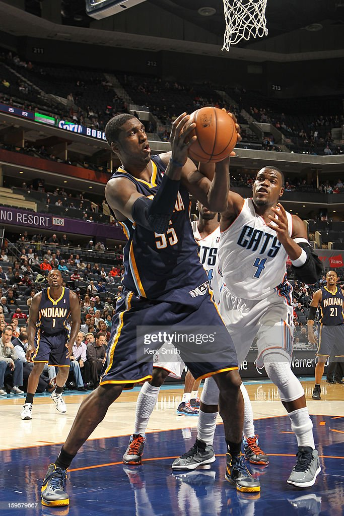 Roy Hibbert #55 of the Indiana Pacers looks to pass the ball against the Charlotte Bobcats at the Time Warner Cable Arena on January 15, 2013 in Charlotte, North Carolina.