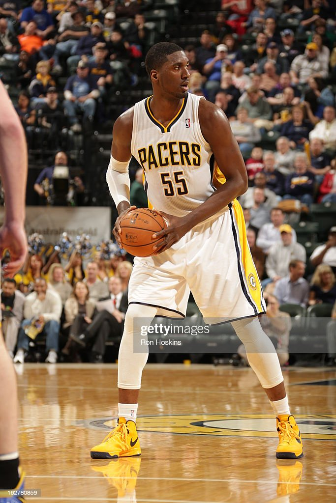 Roy Hibbert #55 of the Indiana Pacers looks to pass the ball against the Golden State Warriors on February 26, 2013 at Bankers Life Fieldhouse in Indianapolis, Indiana.