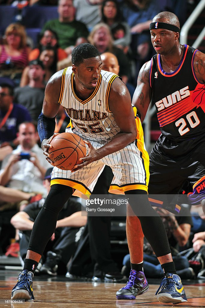 <a gi-track='captionPersonalityLinkClicked' href=/galleries/search?phrase=Roy+Hibbert&family=editorial&specificpeople=725128 ng-click='$event.stopPropagation()'>Roy Hibbert</a> #55 of the Indiana Pacers looks to pass the ball against the Phoenix Suns on March 30, 2013 at U.S. Airways Center in Phoenix, Arizona.