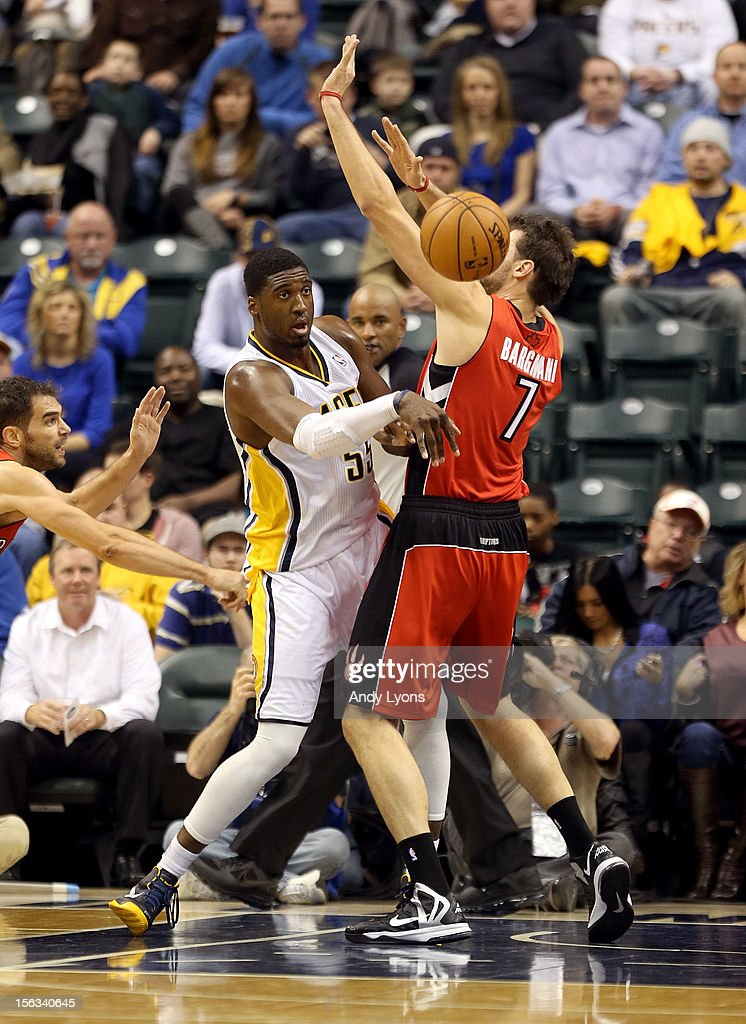Roy Hibbert #55 of the Indiana Pacers passes the ball during the NBA game against the Toronto Raptors at Bankers Life Fieldhouse on November 13, 2012 in Indianapolis, Indiana.