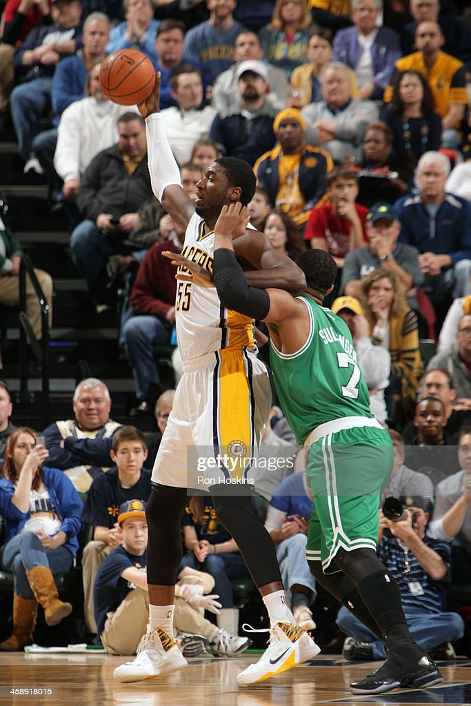 Roy Hibbert #55 of the Indiana Pacers protects the ball against the Boston Celtics at Bankers Life Fieldhouse on December 22, 2013 in Indianapolis, Indiana.