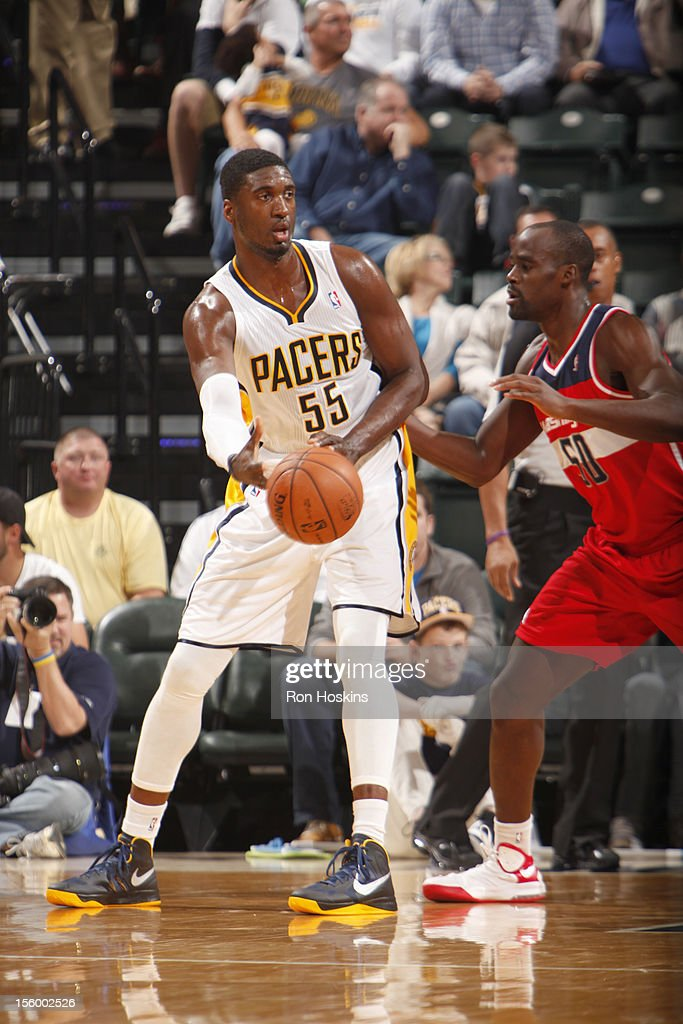 Roy Hibbert #55 of the Indiana Pacers protects the ball during the game between the Indiana Pacers and the Washington Wizards on November 10, 2012 at Bankers Life Fieldhouse in Indianapolis, Indiana.