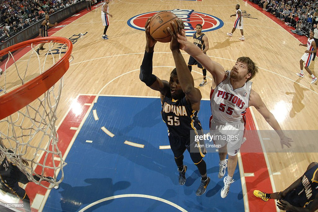 Roy Hibbert of the Indiana Pacers pulls down a rebound against Viacheslav Kravtsov of the Detroit Pistons on February 23 2013 at The Palace of Auburn...