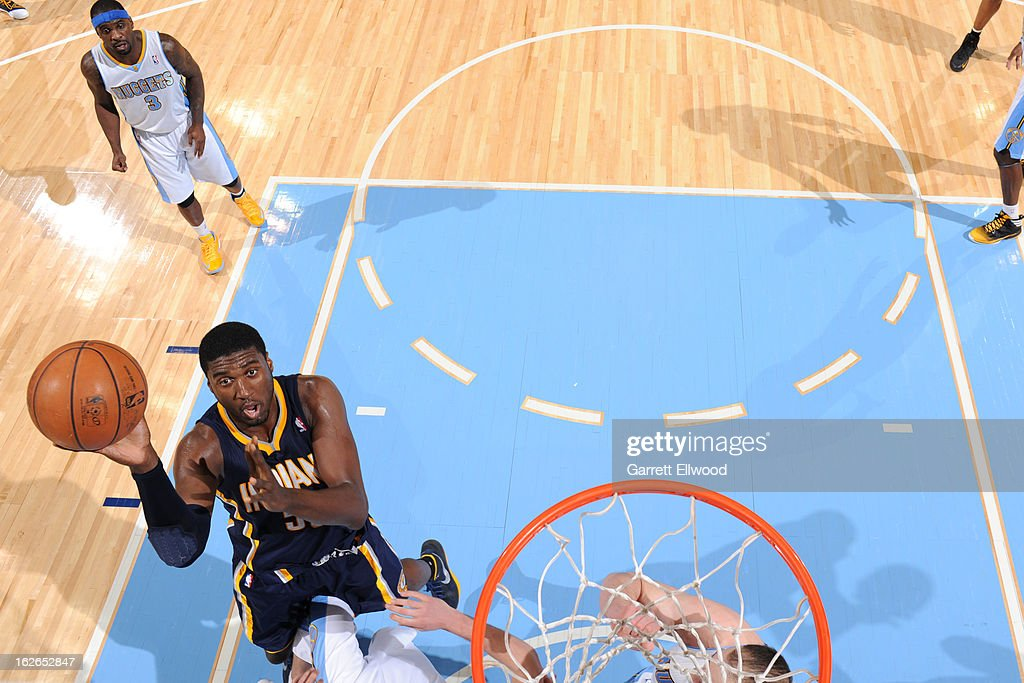 Roy Hibbert #55 of the Indiana Pacers puts up a shot against the Denver Nuggets on January 28, 2013 at the Pepsi Center in Denver, Colorado.