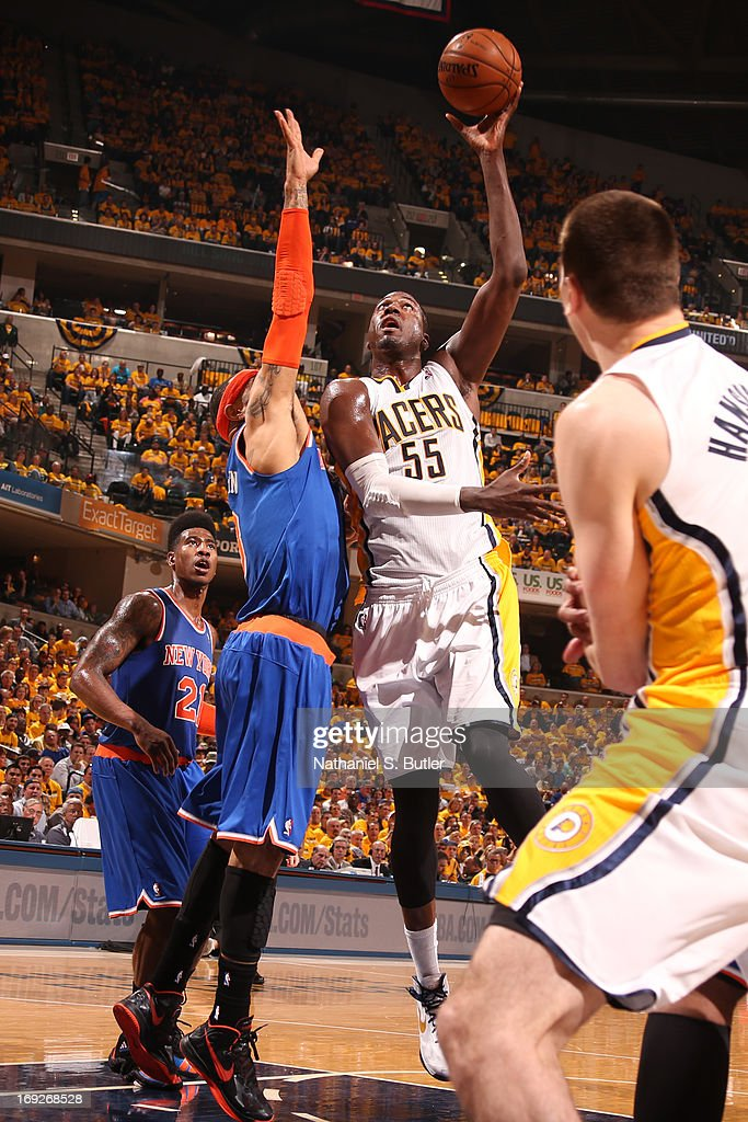 <a gi-track='captionPersonalityLinkClicked' href=/galleries/search?phrase=Roy+Hibbert&family=editorial&specificpeople=725128 ng-click='$event.stopPropagation()'>Roy Hibbert</a> #55 of the Indiana Pacers puts up a shot against the New York Knicks in Game Three of the Eastern Conference Semifinals during the 2013 NBA Playoffs on May 11, 2013 at the Bankers Life Fieldhouse in Indianapolis.