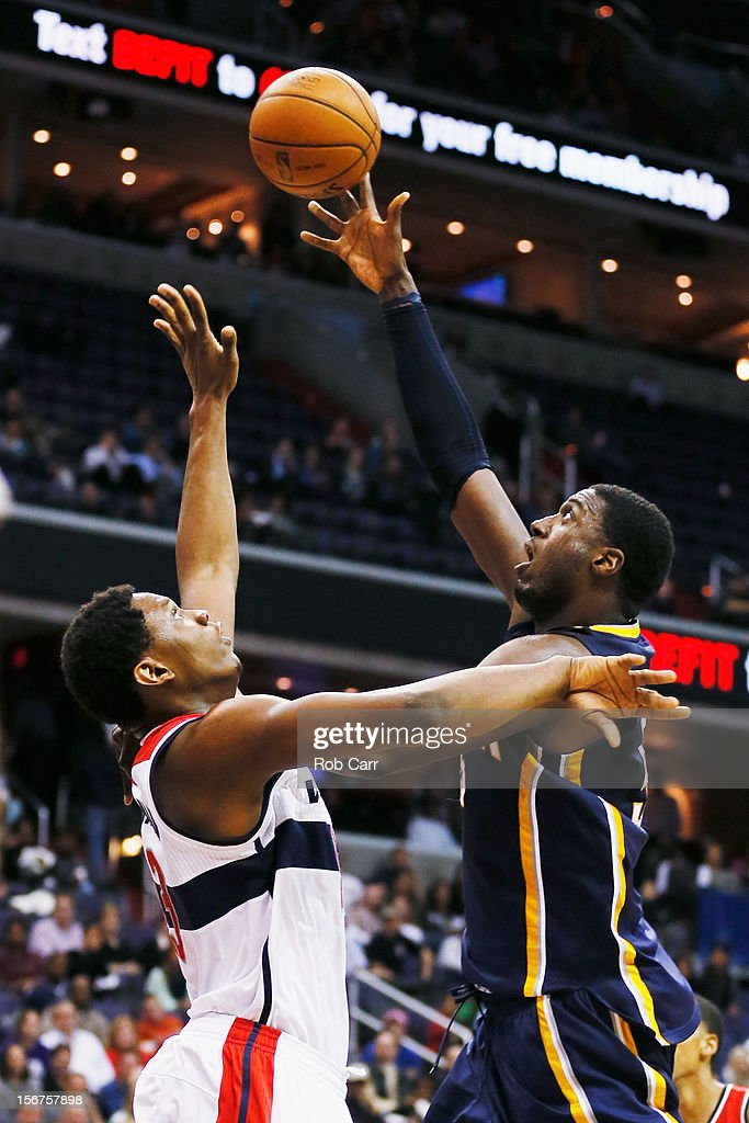 Roy Hibbert #55 of the Indiana Pacers puts up a shot over Kevin Seraphin #13 of the Washington Wizards during the fist half at Verizon Center on November 19, 2012 in Washington, DC.NOTE